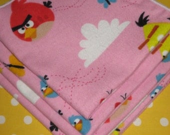 Pink Angry Birds Flannel Wash Cloths / Wipes / Reusable wash cloths
