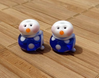 Little Snowman Set Dotted Pair in Blue--Handmade LAMPWORK Beads