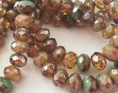 Czech Glass Rondells 8 mm Champagne transparent brown-turquoise   0289