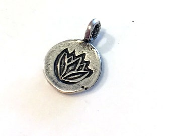 TWO Small Lotus Charm in Sterling