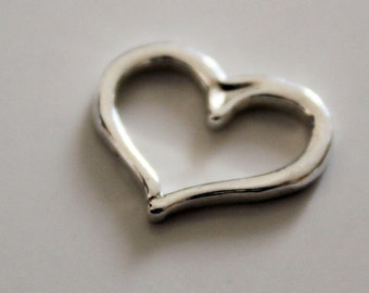Heart Link Sterling Open Heart Charm