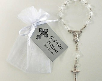 25 Mini Rosary Favors - Baby Baptism Favors - Christening Favors - Communion Favors - First Communion Favors - Rosary Favors - Silver