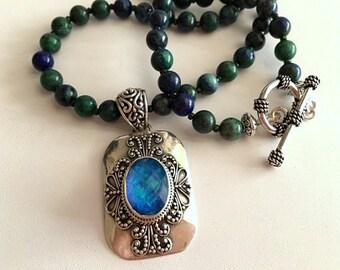 Chrysocolla Necklace-Mystic Topaz Pendant Necklace