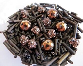 Metal Bugle Bead Mix With 12 Misc Beads, Bead Destash
