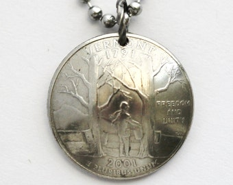 Vermont, Tennessee, Virginia, West Virginia, Wisconsin State Quarter Necklace, Domed Coin Jewelry by Hendywood