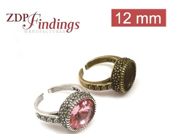 4pcs x Round 12mm Quality Cast Ring Bezel Cups For Setting Choose your Finish  (9797PEV)