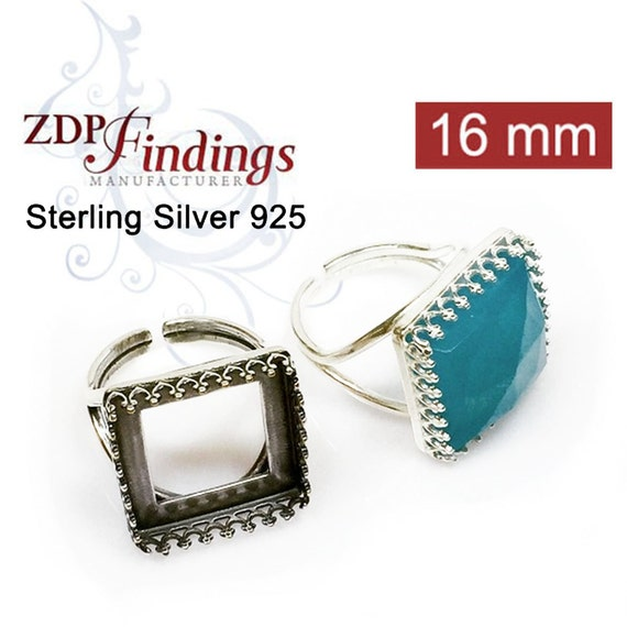 Square 16x16mm Heavy Cast Bezel Cups For Setting, Solid 925 Sterling Silver, Choose Your Color  (8865SV)
