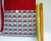 SALE Toadstool Small Tote Bag, Cute Book Bag, Toadstool Print Fabric Bag for Girls