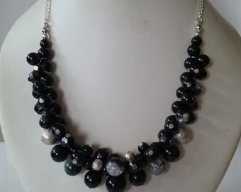 Black Silver and Grey Cluster Necklace and Complimentary Earrings