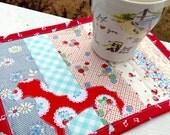 Dachshund quilt doxie mug rug dachshund applique doxie mini quilt dachshund gift dachshund lover doxie mug mat red dachshund