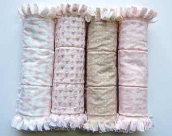 Baby Girl Burp Cloths, Burp Cloth Set, Baby Gift Set, Quilted Burp Rags, Flannel Burping Pads