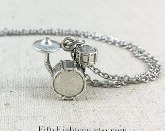 Drum Set Charm Necklace, Silver Drum Charm Jewelry, Gift For Drum Player, Band Necklace