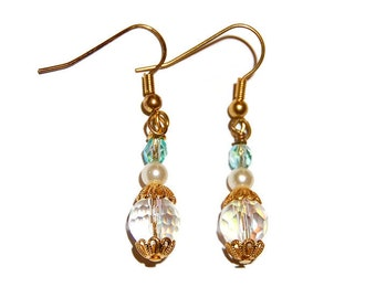Crystal with Pearl and  Blue Bead Gold Dangle Earrings