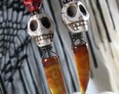Stone Skulls & Carnelian Claws Handmade Gemstone Earrings