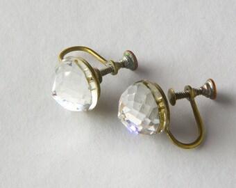 Vintage Art Deco Faceted Glass Screwback Earrings