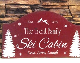 SKI cabin sign, ski decor, custom wood sign, personalized sign, rustic cabin sign, ski cottage sign, winter cabin decor, lodge