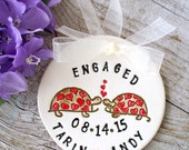 Engagement Ornament, Turtles in Love - Personalized Ornament,  Engagement Gift,  Ceramic Ornament, Dated Ornament, Wedding Ornament