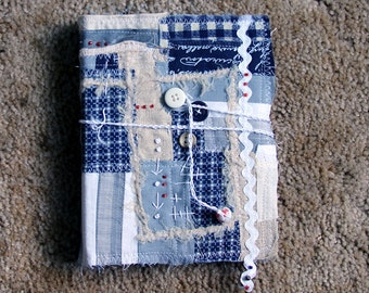 Fiber Art Journal Navy Grey Beige White Beaded Embroidered Quilted Couched Scripture