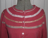 Raspberry Cardigan . Size L . Ribbon Cardigan . 40s style cardigan .  cotton cardigan
