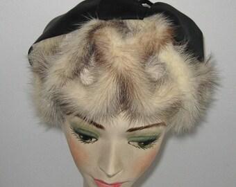 Mink Headband Hat . Blond Mink Hat 60s . Mink Fascinator . mink hat . mink headband hat