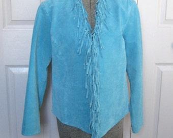 fringed leather jacket . Turquoise Suede Jacket . Fringed Suede Jacket . XS Leather Jacket