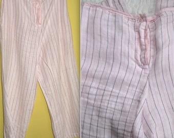 pin striped linen pants . linen pants . cropped linen pants . pink linen pants