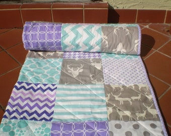 Rustic Baby Quilt,Teal,grey,purple,lavender,aqua,baby boy bedding,baby girl quilt,woodland,rustic,organic,deer,chevron,toddler,Lilac stag