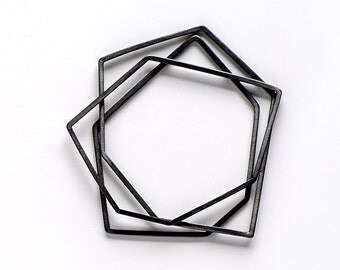 Geometric Bangle, Black Bangle Bracelet, Oxidized Silver Bangle, Sterling Silver Bangle Set, Thin Bangle set, Stacking Bangles set