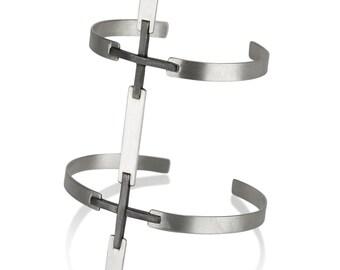 Statement Cuff, Wide Silver Cuff, Minimalist Cuff, Cross Cuff Bracelet, Sterling Silver Cuff Bracelet, Black Cuff Bracelet