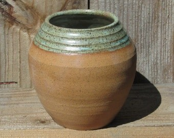 Pottery Vase Rustic Tan Clay and Gunmetal Green
