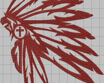 Christian Native American Headdress Digitized Embroidery Design File