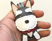 Small size - Choco the Schnauzer cowhide leather charm ( Grey / white )