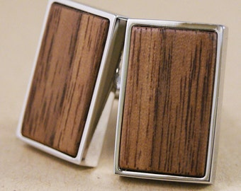 American Walnut Wood Cufflinks in Silver - Excellent Wedding Gift!