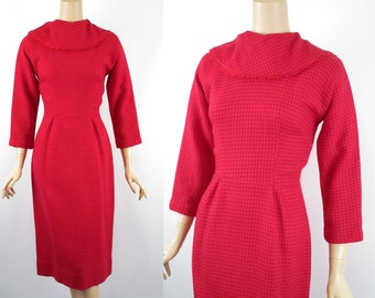 Vintage 1950s Dress Raspberry Check Wool Form Fitting with Shawl Collar by Henry Rosenfeld B36 W25