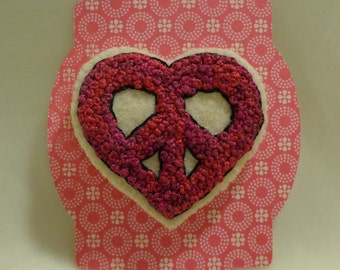 Handmade French Knotted Peace Sign Heart Brooch Pin Embroidery Valentine