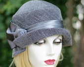 Custom Order for Marla 1920's Trendy Cloche Hat Grey Swril Fabric Downton Abbey