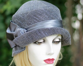 1920's Trendy Cloche Hat Violet and Grey Tweed Fabric Downton Abbey Great Gatsby Flapper