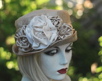 Large Flowered Wedding Hat Vintage Edwardian Riding Formal Bucket SteamPunk Champagne Tapestry Fabric