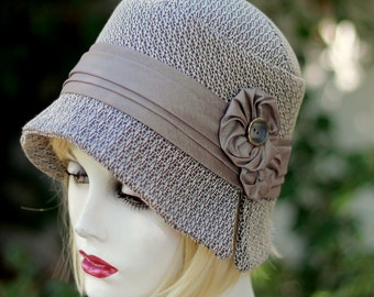 Women's Hat 20s Cloche Downton Abbey Designer Handmade Great Gatsby Fabric Grey Taupe