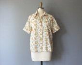 vintage floral blouse / white floral shirt / button up blouse / orange blossom shirt / 1960s or 1970s blouse