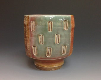 Yunomi. Tumbler. Whiskey Cup. Squared. Rope Impressed. Soda Fired Stoneware Pottery