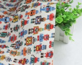 4100 - Cath Kidston Robots (Offwhite) Cotton Canvas Fabric - 57 Inch (Width) x 1/2 Yard (Length)