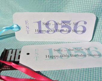 60th Birthday Party Favors -  Adult Birthday Parties - Candy Bar Wrappers,