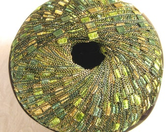 Ladder Ribbon Glitter yarn, BRILLIANT HERBS, green gold ribbon yarn, trellis yarn ,43
