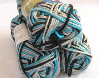 Wool Soysilk Hemp blend yarn,  turquoise grey black, SWTC ROCK yarn, Jonas, variegated self striping yarn