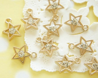 5 pcs Star with Clear Stone Charm (12mm) AZ309