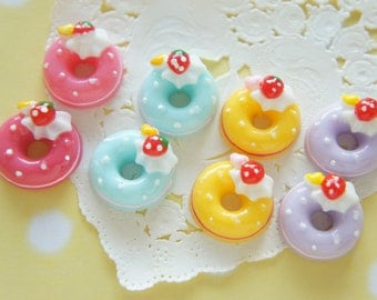 8 pcs Pastel Colorful Doughnut Cabochon (18mm) CD610 new colors