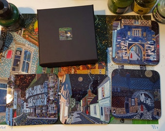 Set of 4 Coasters based on Sandwich (Kent) paintings by Richard Friend SET A