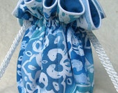 Summer Blues Jewelry Pouch with blue lining