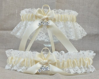 Ivory Motorcycle Wedding Garter Set - Lace